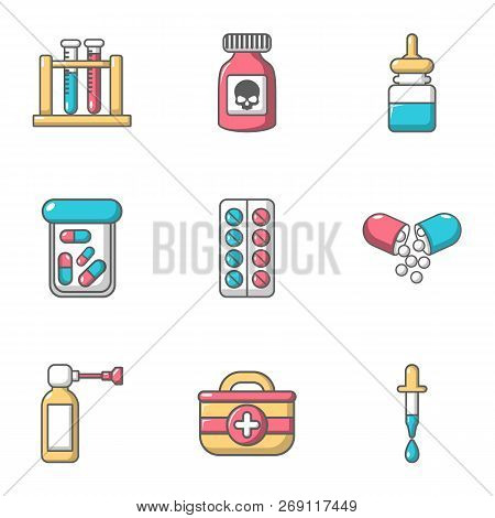 Pellet Icons Set. Cartoon Set Of 9 Pellet Vector Icons For Web Isolated On White Background