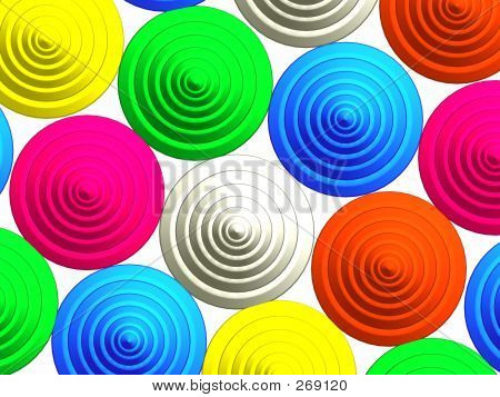 3d - abstract multicolored buttons pattern on white poster