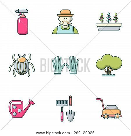Front Garden Icons Set. Flat Set Of 9 Front Garden Vector Icons For Web Isolated On White Background
