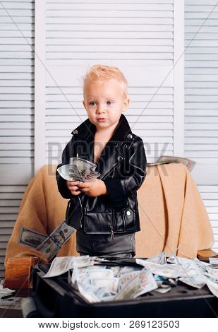Big Money. Little Entrepreneur Work In Office. Small Child Do Business Accounting In Startup Company