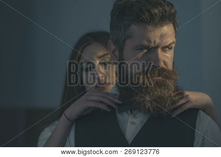Always Fashionable. Married Family Couple. Couple In Love. Bearded Man And Sensual Woman With Fashio