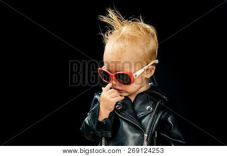Rock And Roll Fashion Trend. Little Child Boy In Rocker Jacket And Sunglasses. Little Rock Star. Roc
