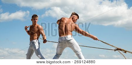 A Strong Team. Athletic Twins With Fit Sexy Body. Sport Exercises For Building Strength And Power. S