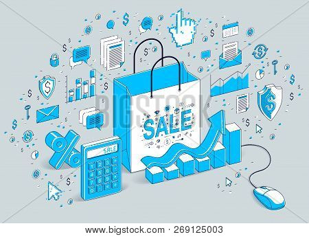 Online Shop Concept, Web Store, Internet Sales, Shopping Bag With Pc Mouse Connected Isolated On Whi
