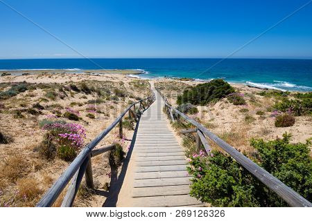 Wooden Walkway With Railing Down To The Coast