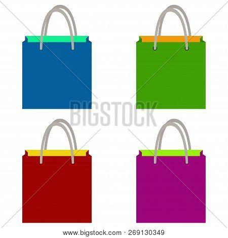 Shopping Bag Set, Vector Illustration, Eps 10. Green Bag. Blue Bag. Red Bag. Lilac Bag.