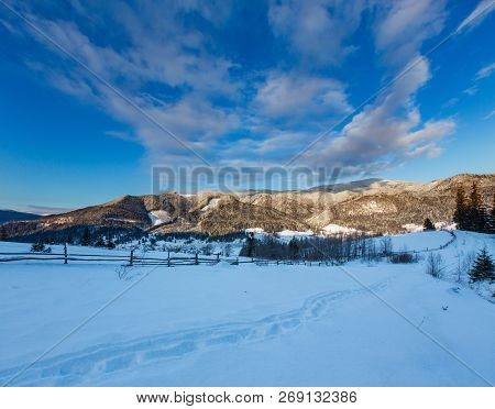 Sunrise Morning Dusk Winter Carpathian Mountain Village Zelene In Black Cheremosh River Valley Betwe