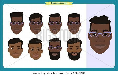 Group Of Working People, Business Black American Man Avatar Icons.flat Design People Characters.busi