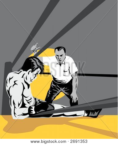 Referee Counting Down Boxer On The Floor