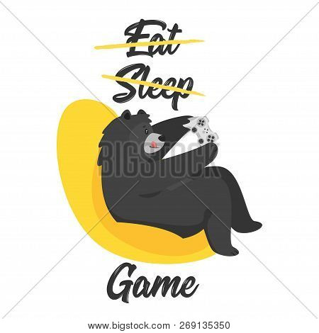 Cartoon Vector Cool Black Bear Holding Game Controller And Gaming, Isolated On White Background. Tem
