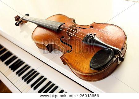 violin and piano keys