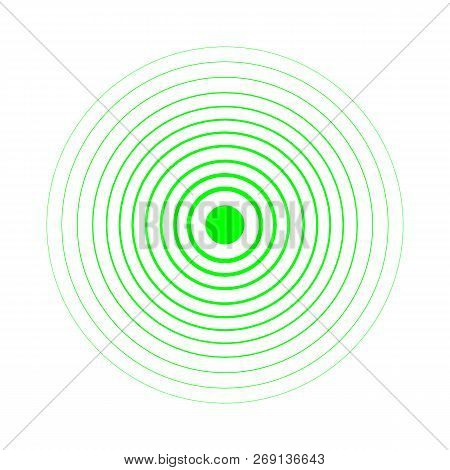 Radar Screen Concentric Circle Elements. Vector Illustration For Sound Wave. Black And Green Color R