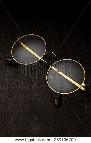 Golden Magnifier On A Dark Background..story, Lawyer, Storybook,