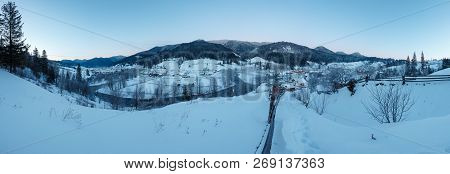 Daybreak Morning Dusk Winter Carpathian Mountain Village Zelene In Black Cheremosh River Valley Betw