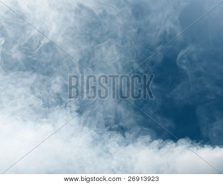 smoke background on blue