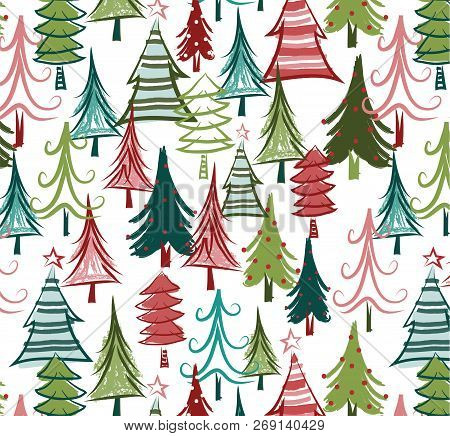 Christmas Tree Seamless Pattern. Colorful, Quirky Trees Are Dressed For The Holidays In This All-ove