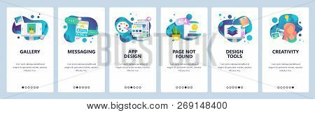 Vector Web Site Onboarding Screens Template. Design Creative Tools And Software. Mobile Online Messa