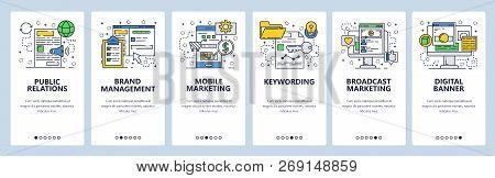 Vector Web Site Linear Art Onboarding Screens Template. Digital Marketing And Advertising. Pr, Brand