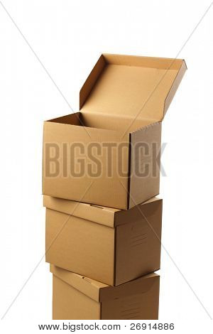 stack of closed cardboard boxes isolated, clipping path
