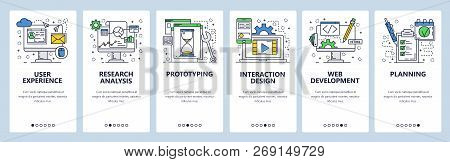 Vector Web Site Linear Art Onboarding Screens Template. User Experience, Prototyping And Web Develop