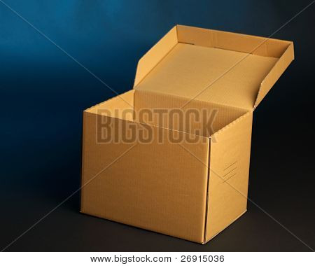 cardboard box on blue