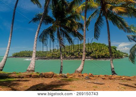 View of Ile Saint Joseph island from Ile Royale in archipelago of Iles du Salut Islands of Salvation in French Guiana poster