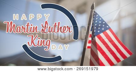 happy Martin Luther King day against american nationa; flag in restaurant