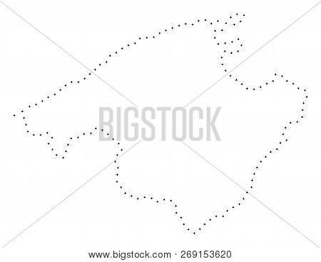 Vector Stroke Dot Majorca Map In Black Color, Small Border Points Have Diamond Shape. Track The Fram