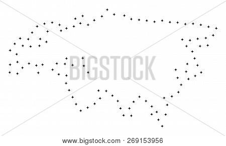 Vector Stroke Dotted Eurasia Map In Black Color, Small Border Points Have Diamond Shape. Follow The