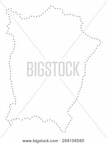 Vector Stroke Dot Penang Island Map In Black Color, Small Border Points Have Diamond Shape. Discover