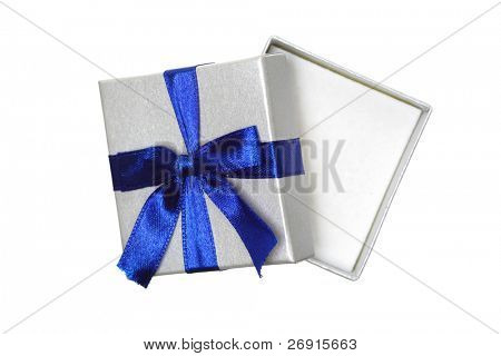 opened gift with blue bow isolated