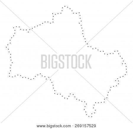 Vector Stroke Dot Moscow Oblast Map In Black Color, Small Border Points Have Diamond Shape. Trace Th