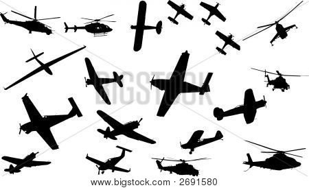 Collection Of Plane And Helicopter Vector