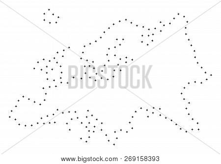 Vector Stroke Dotted Europe Map In Black Color, Small Border Points Have Diamond Shape. Connect The