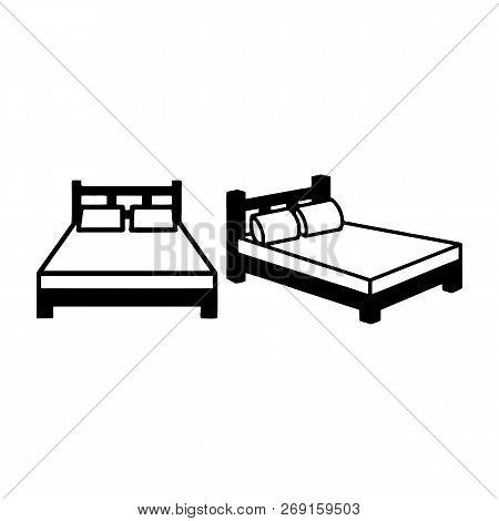 Hotel Bed Vector Icon On White Background. Hotel Bed Modern Icon For Graphic And Web Design. Hotel B