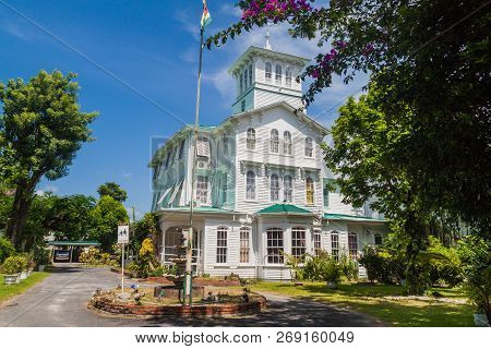 Georgetown, Guyana - August 10, 2015: Prime Minister Official Residence In Georgetown, Capital Of Gu