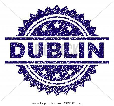 Dublin Stamp Seal Watermark With Distress Style. Blue Vector Rubber Print Of Dublin Tag With Dirty T