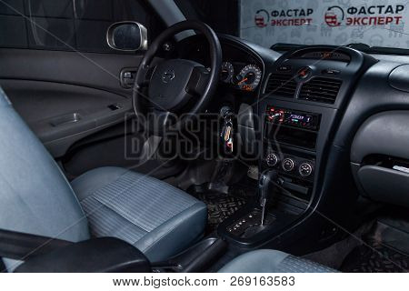 Novosibirsk, Russia - November 16, 2018:  Nissan Almera, Close-up Of The Dashboard, Whellls And Seat
