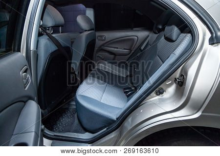 Novosibirsk, Russia - November 16, 2018: Nissan Almera, Close-up Of The Rear Seats. Photography Of A