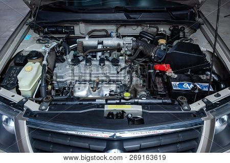 Novosibirsk, Russia - November 16, 2018: Nissn Almera,  Close-up Of The Engine, Front View. Photogra