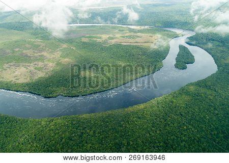 Aerial View Of River Carrao In Venezuela