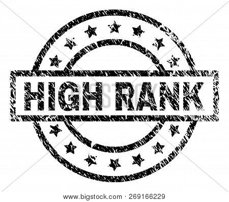 High Rank Stamp Seal Watermark With Distress Style. Designed With Rectangle, Circles And Stars. Blac