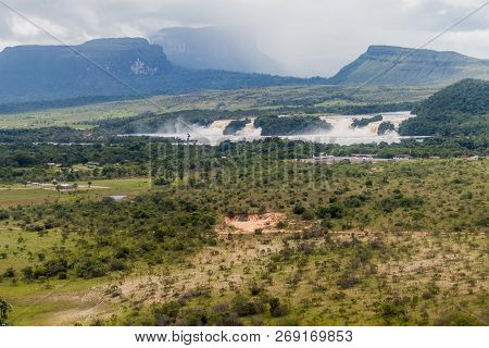 Aerial View Of Canaima Lagoon Waterfalls At River Carrao In Venezuela