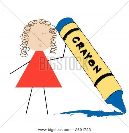 Person Holding Up Crayon.Eps