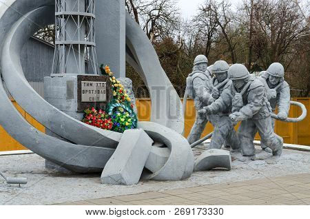 Chernobyl, Ukraine - November 11, 2018: Monument To Firefighters Who Participated In Liquidation Of