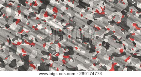 Gray Red Army Camouflage Background. Military Uniform Clothing Texture. Seamless Combat Uniform.