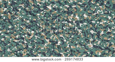 Green Beige Army Camouflage Background. Military Uniform Clothing Texture. Seamless Combat Uniform.