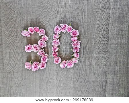 30, Thirty - Vintage Number Of Pink Roses On The Background Of Dark Wood - For Congratulations,  Web