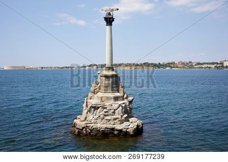 SEVASTOPOL, CRIMEA - JUN 10, 2018: Monument to the Sunken Ships. Monument was built in 1905 to the 50-th anniversary of the First Defense of Sevastopol.