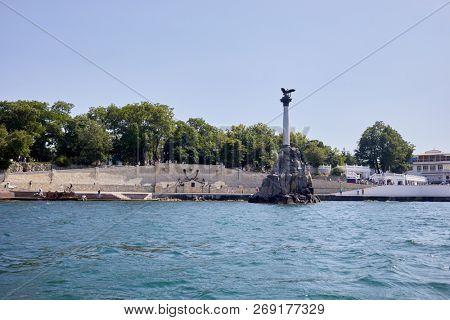 SEVASTOPOL, CRIMEA - JUN 10, 2018: Monument to the Sunken Ships in Sevastopol. Monument was built in 1905 to the 50-th anniversary of the First Defense of Sevastopol.